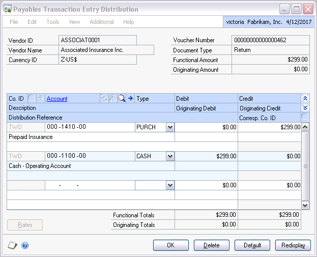 Payables Return transactions in Dynamics GP | Victoria Yudin