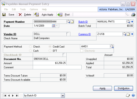 Receipt Generating Software Pdf Using Credit Cards To Pay Vendors In Dynamics Gp  Victoria Yudin Usa Invoice Template with Nissan Invoice Price In This Example We Have Already Posted An Invoice For Dell Now We Are  Recording That We Paid Them With A Credit Card Invoice With Gst Template Excel