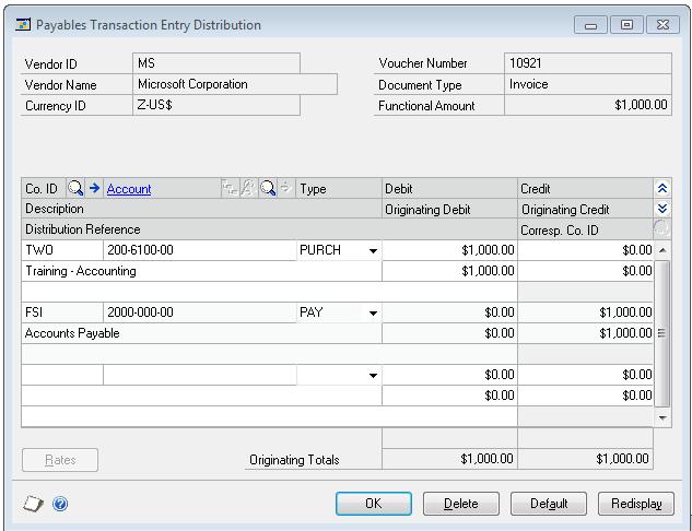 Intercompany Transaction Entry In Gp Payables Microsoft