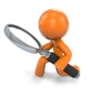 Orange man magnifying glass