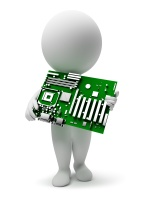 3d small people with a motherboard. 3d image. Isolated white background.